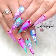 Pink purple turquoise Unicorn color nails 3d flowers