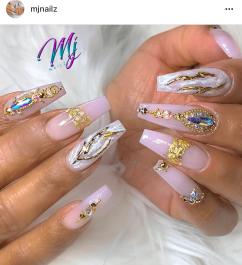 Blush pink nail design