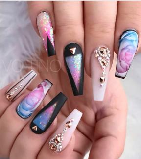 Coffin shaped nails art design