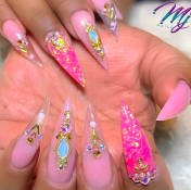 Pink stiletto nail design