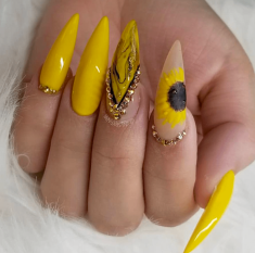 Sunflower yellow nails point tip design
