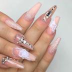 Blush pink glitter nail art