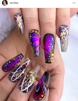 Purple princess cut nails