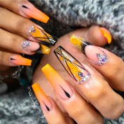 Orange Ombre princess cut nail