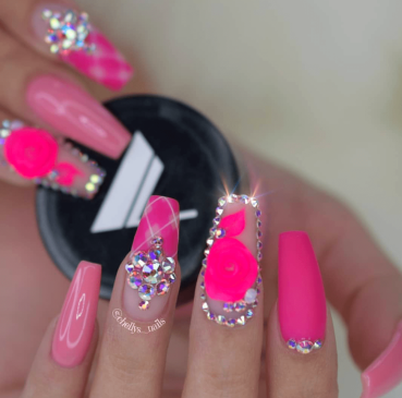 HOT PINK nails 3d encapsulated flower