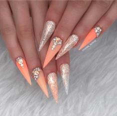 Peach stiletto nail designs acrylic