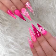 Stiletto nail designs fuschia pink with 3d flower