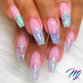 Ballerina cut confettii glitter nails