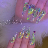 Long green nail design ideas
