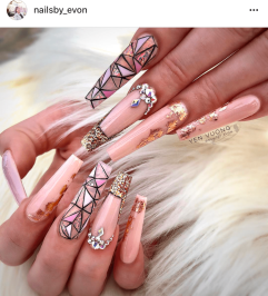Long Princess Cut Nails art Beige and Gold