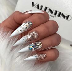 White stiletto nails swarovski crystals