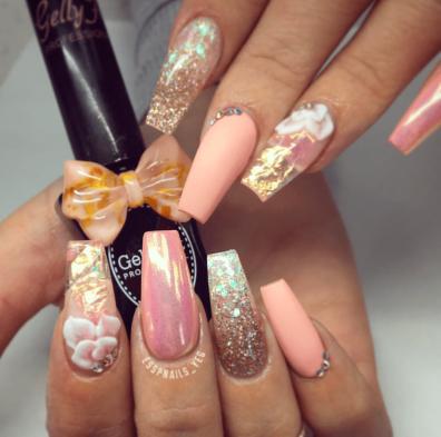 Peach chrome and gold glitter 3d nail design