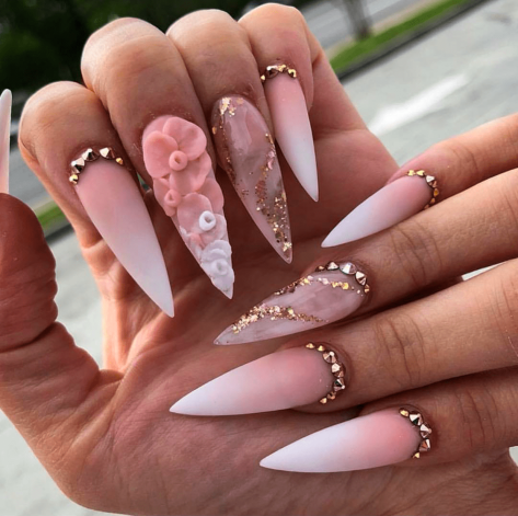 3D Ombre Flower stiletto nails