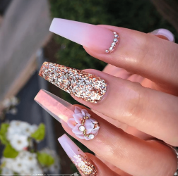 White and gold Coffin shaped nail design