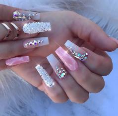 Swarovski square acrylic nail designs