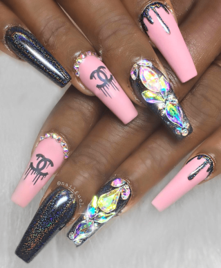 chanel nail design in pink