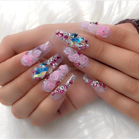 Pink 3D flower nail designs