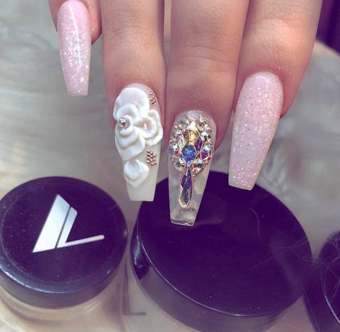 3D flower nail art designs