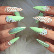 Mint green and white lace Stiletto nail art