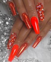 Red Orange nails cute polish