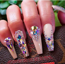 Swarovski crystal coffin shaped nails designs