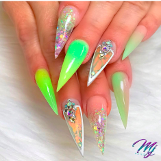 Lime Green and acrylic Stiletto nail design