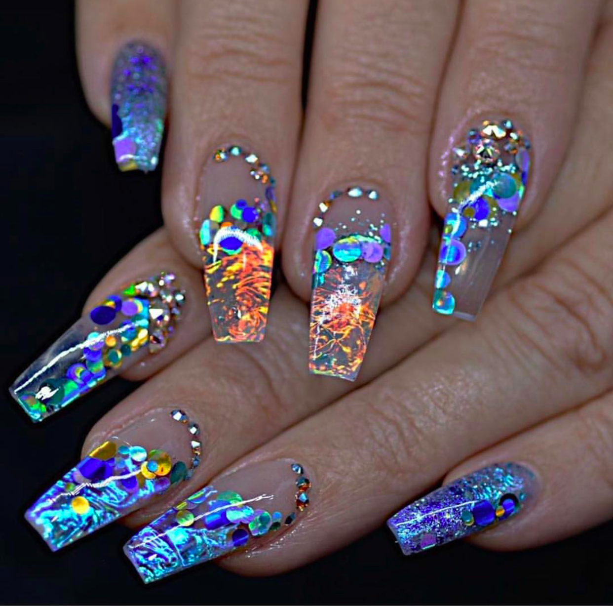 Coffin shaped Holographic nail designs – Vicariously Me | Natural ...