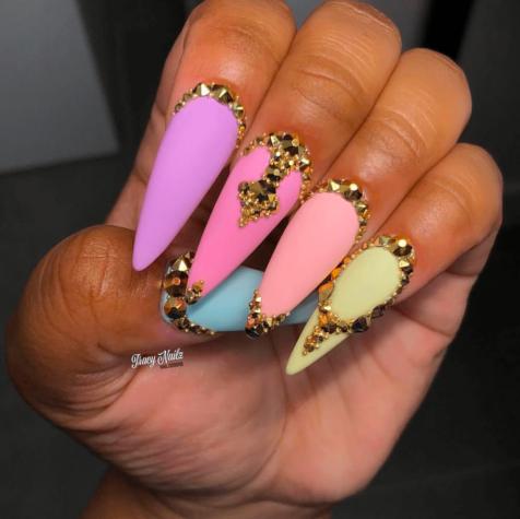 Matte Color Acrylic Stiletto gold rhinestone Nails