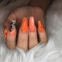Orange and black ballerina nails
