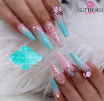 Long Ballerina snake skin design acrylic nails