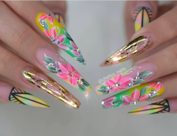 Colorful flower nail art coffin shaped nails