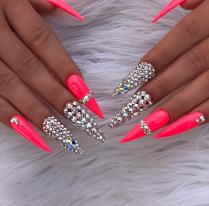Neon Orange Acrylic Stiletto Crystal Nails