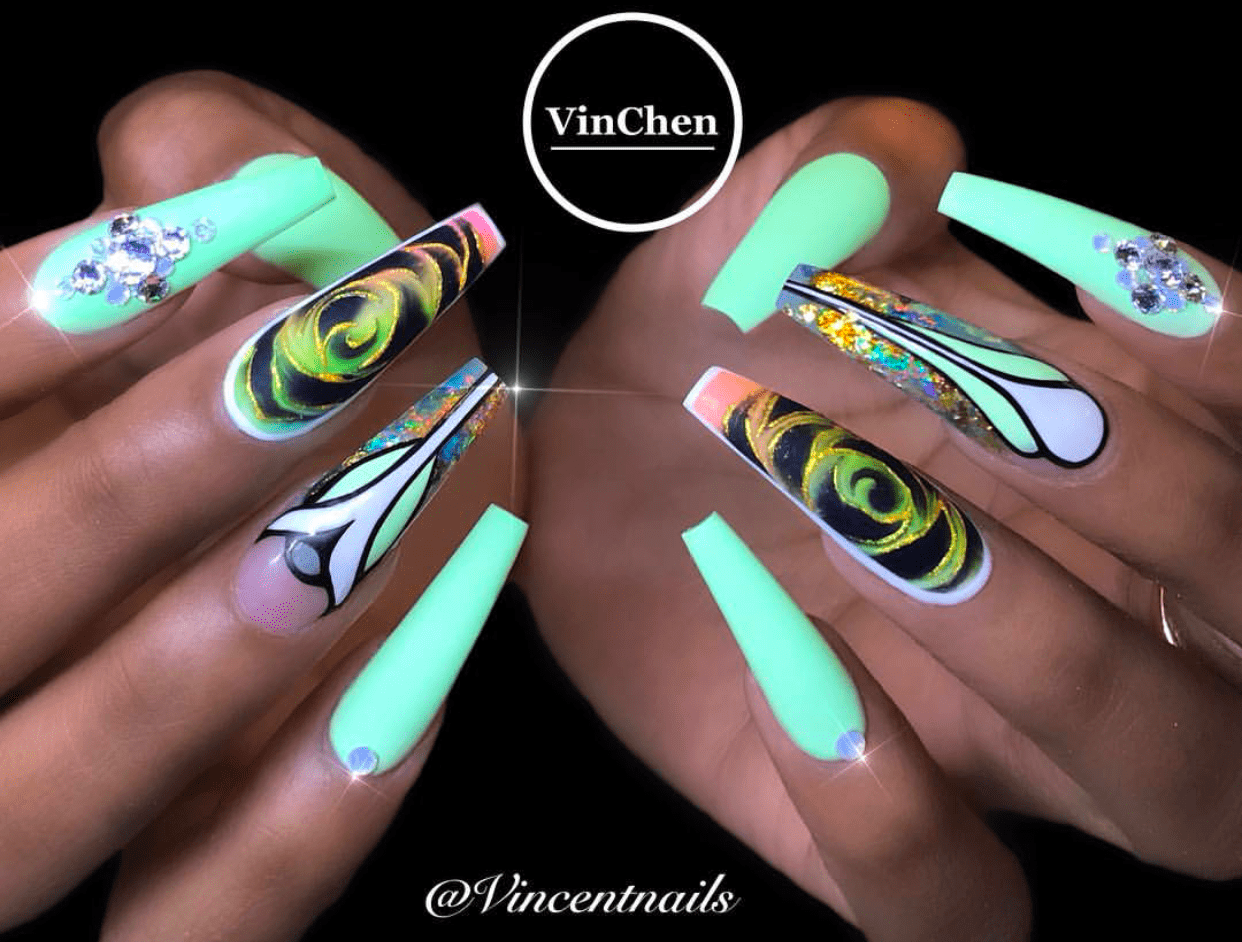 Lime green neon acrylic psychedelic nail art – Vicariously Me ...