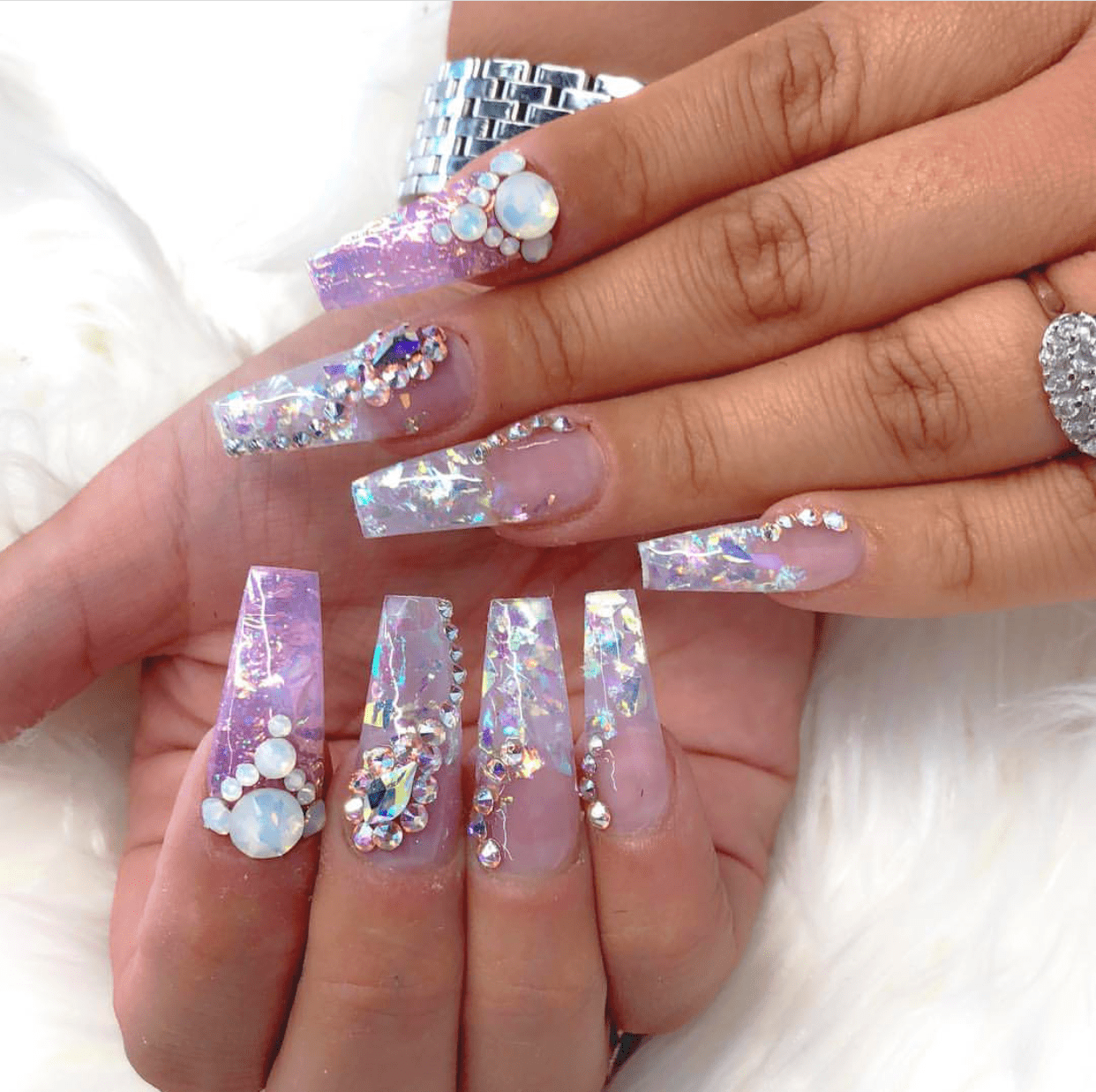 Coffin Shaped Glitter Gel Nail Design Vicariously Me Natural