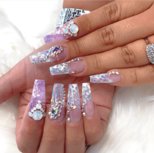 Glitter foil coffin nails ideas