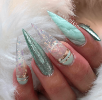 Mint Green Stiletto Acrylic nails