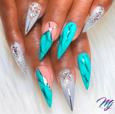 Turquoise and gray Marble stiletto nails