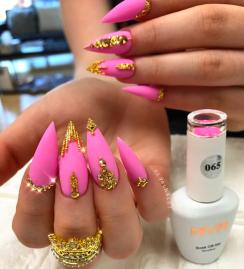 HOT Pink and Gold swarovski stiletto nails