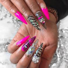 Pink and glitter swarovski crystal stiletto nails