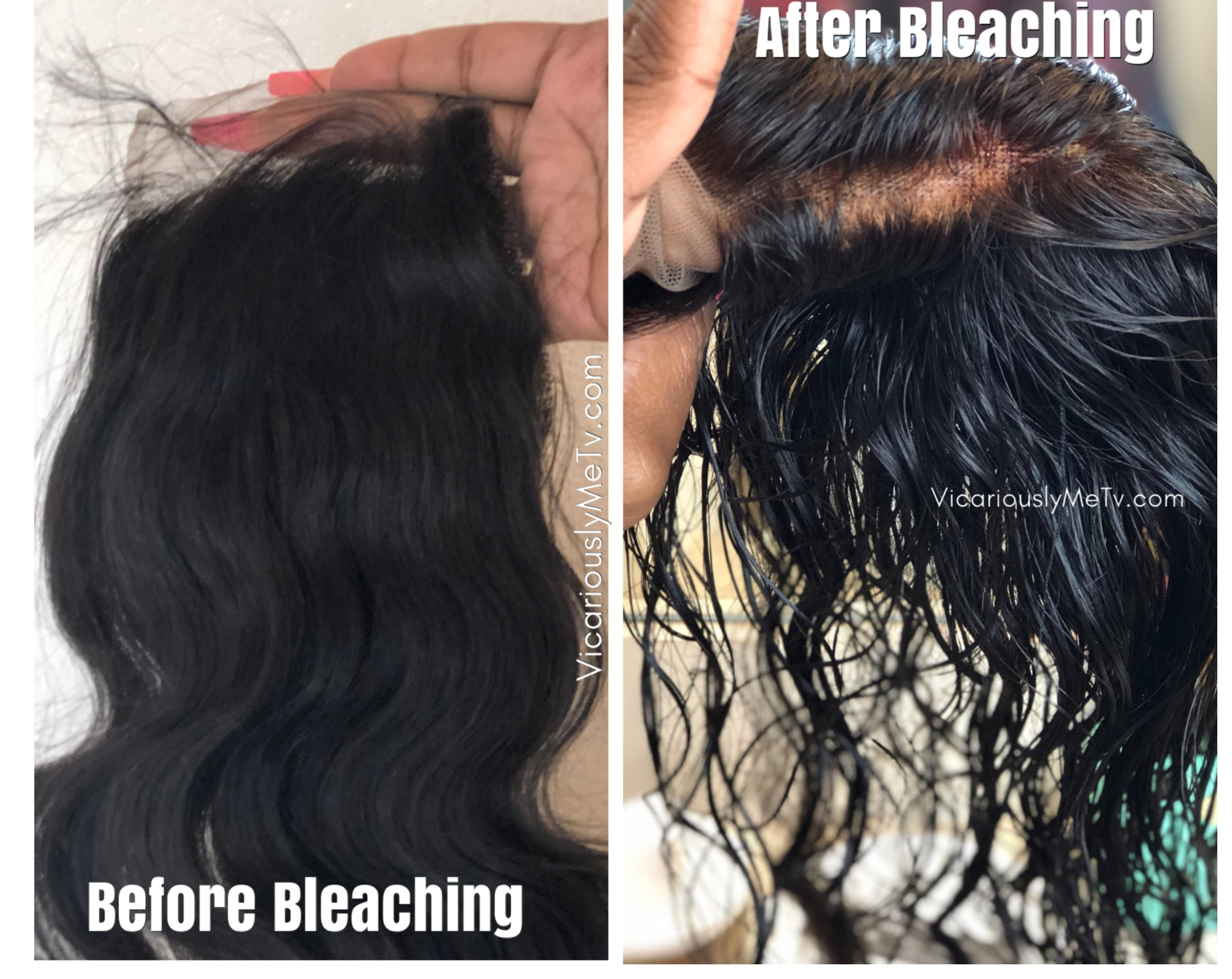 How to bleach knots on closure befefore and after