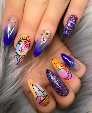 Colorful purple nails with Sun and moon Astrology designs