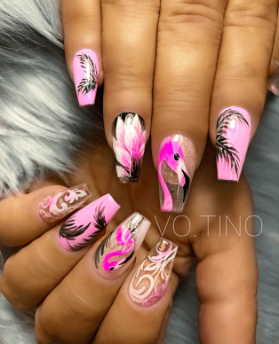 Beautiful coffin summer nail designs with flowers
