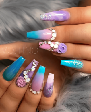 Blue purple nail designs with 3d flowers