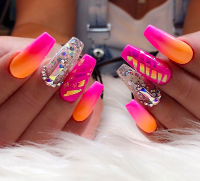 Pink and orange nail designs for summer