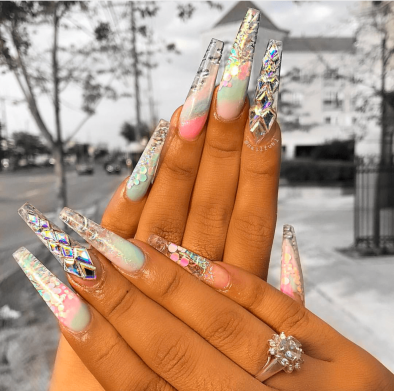 Long coffin shaped water color nail designs