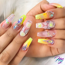 Yellow coffin shaped nails perfect for summer