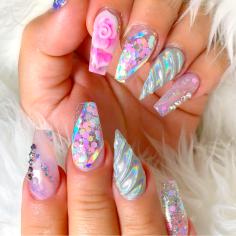 Unicorn horn acrylic nail designs