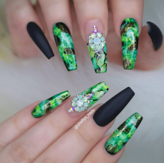 Green Acrylic nails designs perfect for summer
