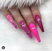 Fuschia Glitter coffin shaped nail designs
