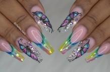 Butterfly rainbow nail art designs